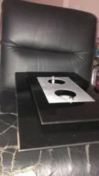 Plafon sobrepor vidro preto