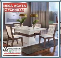 Título do anúncio: Mesa de jantar Ágata 4 cadeiras com tampo de vidro lackeado em Mega Promoção !