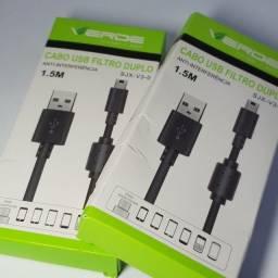 Kit Com 2 Cabo USB V3 Com Filtro Para Controle de PS3 Caixa Bluetooth