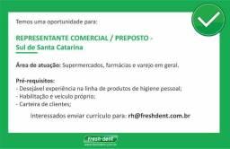 Representante Comercial / Preposto - Sul de Santa Catarina