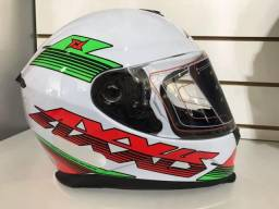 Capacete Axxis branco / vermelho / verde