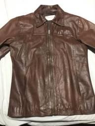 Casaco de couro feminino -tamanho p