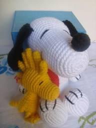 Snoopy e Woodstockk Amigurummi (em crochê)