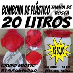 Bombona 20 Litros Branca Galão Reservatório de plástico com Tampa de Rosca
