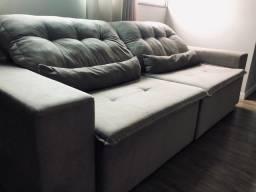 Sofá retrátil reclinável espaçoso e confortável