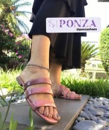 Rasteira flat tamanco Ponza a nova marca de calçados