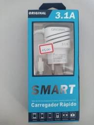 Carregador Rápido 3.1A Entrada Micro USB V8