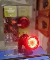 Luz para bicicleta bike vermelha redonda