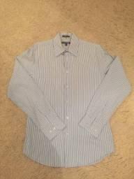 Camisa Social Express 1mx Modern Fit Listrada Azul/Branco Tamanho P (14/14,5) Impecável!