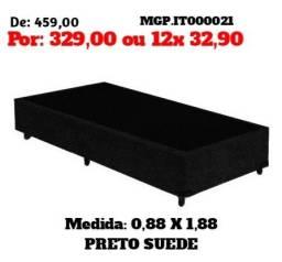 Promoção em Mato Grosso do Sul - Base Box Solteiro em Suede Lindissimo - Embalado