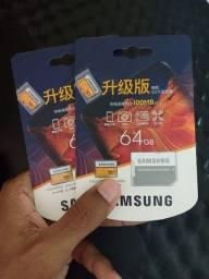 2x Cartões Samsung Evo 64gb Micro Sdxc 100mb/s Original