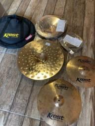 Set de pratos Krest Cymbals Serie Fusion com 5 pratos novo