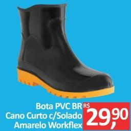Bota PVC Preta cano curto com solado amarelo - Workflex - Promoção R$ 29,90