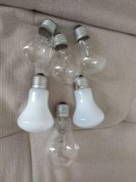 lâmpadas amarelas incandescentes 40W, 60W e 150W