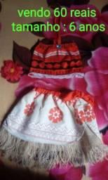 Vestido Moana idade de 4 a 6 anos
