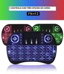 Mini teclado Led smart tv iluminado Controle Teclado TV Box