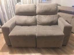 Sofá em suede cinza