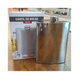 Cantil De Bolso Porta Bebidas Em Aço Inox Rum -whisky 230ml