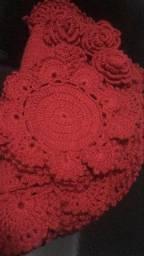 Conjunto em crochê: 4 Sousplat + 4 Porta Copos + 4 Porta Guardanapos