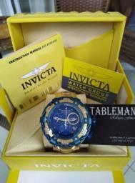 Promoção Relogio Invicta Reserve Thunderbolt Gold Azul