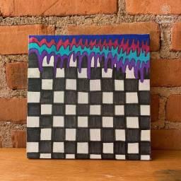 Quadro quadriculado com escorrido colorido