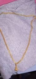 Cordão prata banhado a ouro