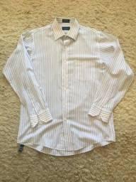 Camisa Social Van Heusen Listrada Broadcloth Importada Tamanho M (15 - 33/34) Zerada!