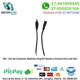 781 - Par de Conector Rabicho Plug P4 Macho e Femea Fita Led Cftv