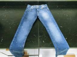 Causa jeans infantil com pérolas