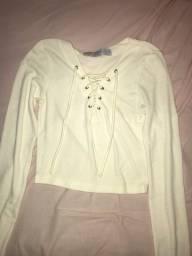 blusa de manga off white