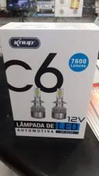 Par Super Leds H4 C6 6000k 7600 Lúmens Efeito Xenon Knup