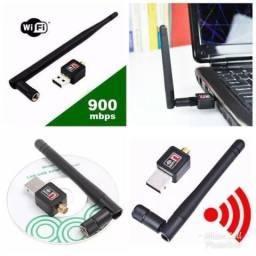 Adaptador Wireless Usb Wifi 900mbps Sem Fio Lan B/g/n Antena