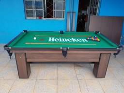 Mesa de Sinuca Cor Tabaco Tecido Heineken Modelo EFH4333