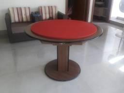Mesa Carteado de Jogos | Mesa Imbuia | Tecido Vermelho | Modelo