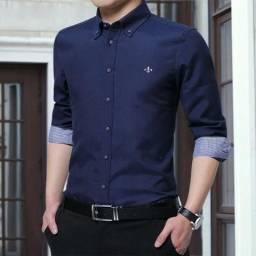 Camisa Social Lisa Azul Marinho