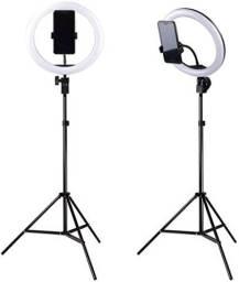 Anel de Luz (Novo na caixa) 26cm +apoio de celular+tripé 2,10 m