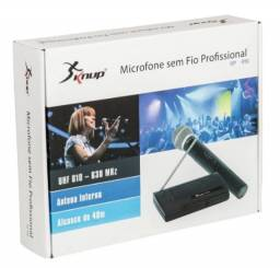 Microfone Sem Fio Uhf Wireless Bivolt Karaokê Pro Kp-910