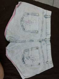 Shorts Jeans azul feminino