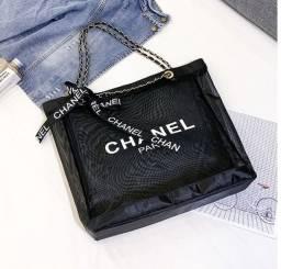 Bolsa preta transparente Chanel alça correntes