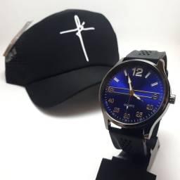 Kit Relógio e Boné Masculino - Entrega Grátis