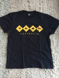 Camiseta Masculina Souvenir Austrália Cor Preta Joey Roo Cangurus Koalas Tamanho P