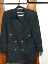 casaco  de linho  brasperola, 44 com botoes madreperola forrado, super fashion