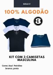 Kit com 3 camisetas 100% algodão