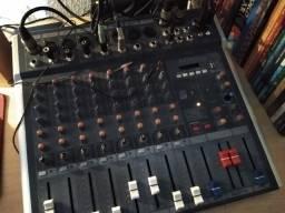 Mesa de som amw bluetooth usb mixer Mp3 8 canais Le711, voltagem bivolt