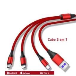 Cabo Carregador 3 Em 1 Micro Usb Tipo C E iPhone 1.2M