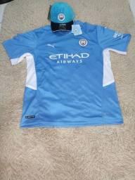 Título do anúncio: PROMOÇÃO! Kit contendo camisa +boné do Manchester City