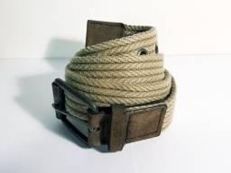Cinto de cordão trançado - casual - cáqui - tam. 85