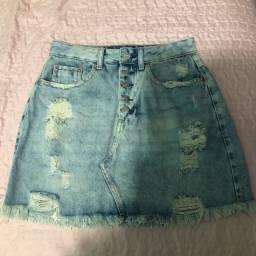 Saia jeans destroyed nunca usada