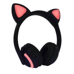 Fone Ouvido Bluetooth Orelha Gato Gatinho Led Celular (fazemos entrega)