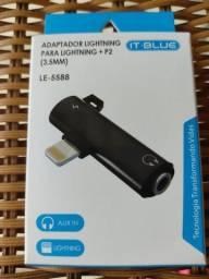 Adaptador Lightning Ifhone P2 Para Carregamento E Fone De Ouvido